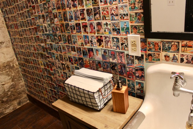 Even The Mens Room Is A Testament To Baseball It Features Wall Covered Solidly In Cards Collected Since Childhood By Pauly And McElwee
