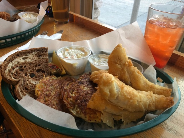 ... ($14) served up with (ultra) creamy coleslaw, housemade tartar sauce, a  choice of potato (pancakes, fries or baked potato) and rye bread and butter.