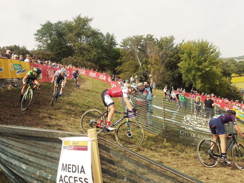 Katie Keough battles down the hill at Jingle Cross in Iowa City, IA