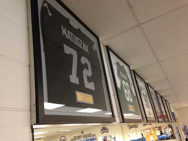 a79d680a7 Matuszak s jersey on display in the Oak Creek High School weight room  (PHOTO  Matt Mueller)