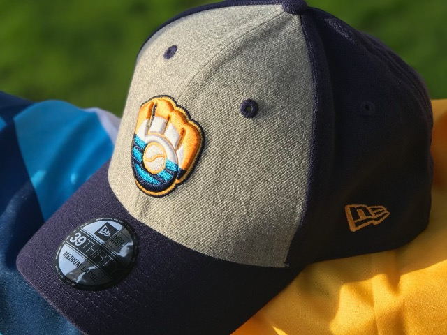 11f5b855da3 Wear two winning looks in one with these Milwaukee flag Brewers hats ...