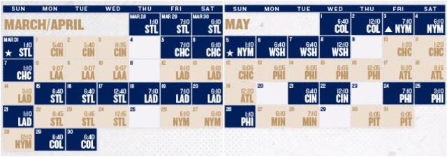 Brewers Schedule May 2019 Brewers unveil 2019 regular season schedule, with home opener