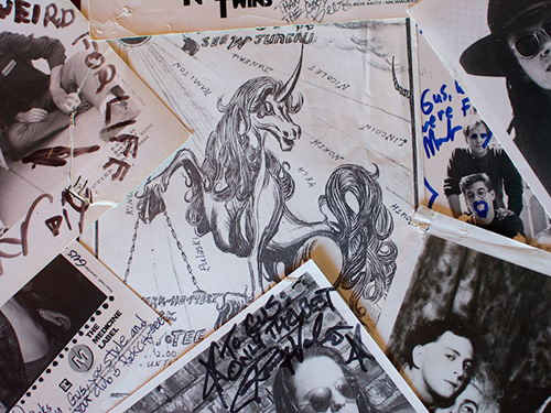 A pile of Unicorn fliers and signed glossies.