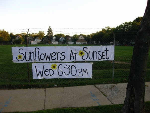 The sign that invited friends and neighbors to join us for a gathering to celebrate the project. We served wine and sunflower seeds.