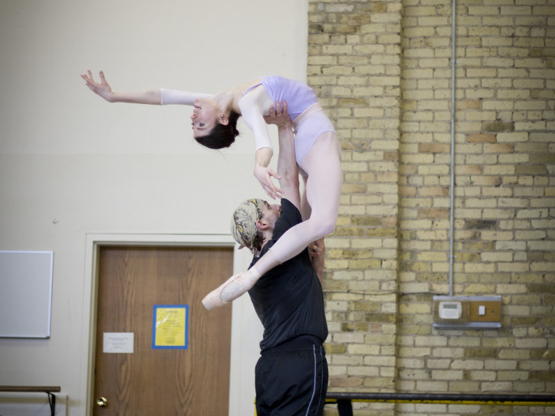 "Valerie Harmon and Ryan Martin rehearse for Milwaukee Ballet's production of ""Swan Lake."""
