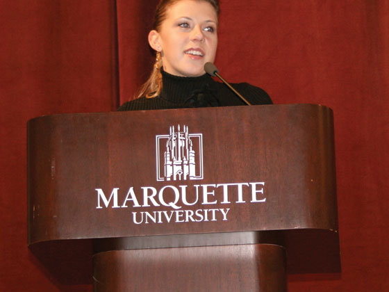 A Marquette Tribune photo from Sweetin's April 23, 2007 talk.