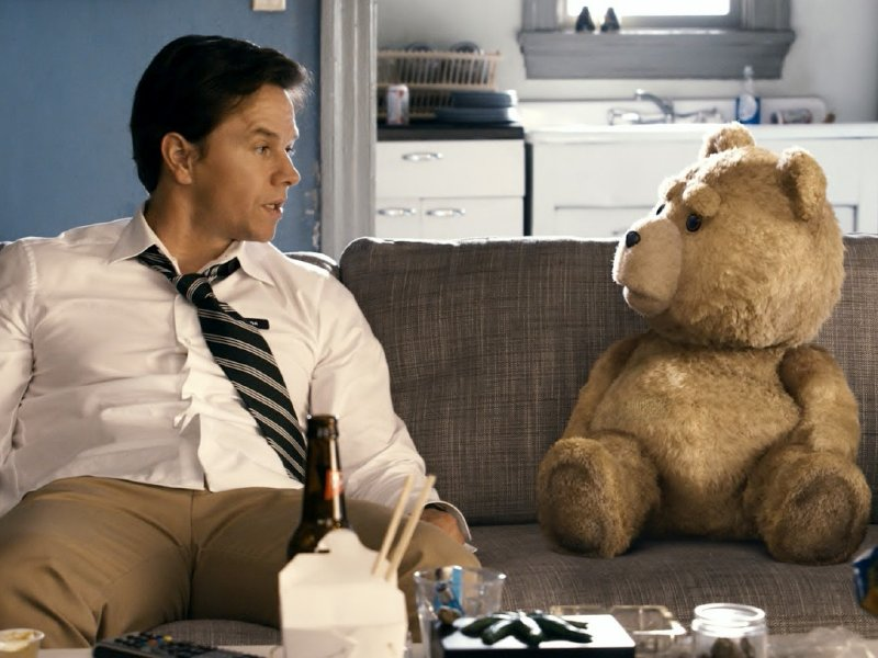 "Mark Wahlberg (and Seth MacFarlane's voice) stars in ""Ted,"" in theaters now."