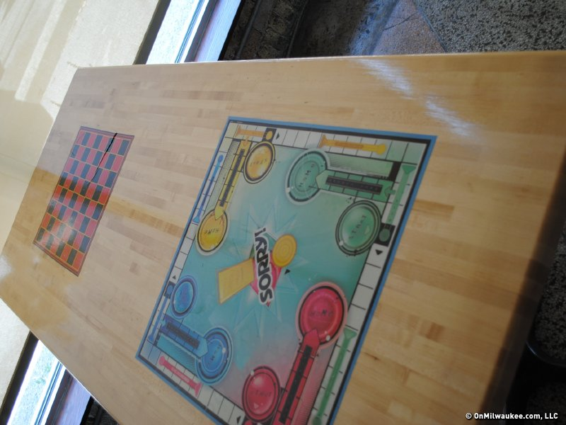 Old school games decorate the tabletops.