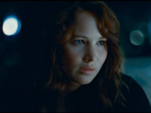 "Jennifer Lawrence as Katniss Everdeen in ""The Hunger Games,"" out today."