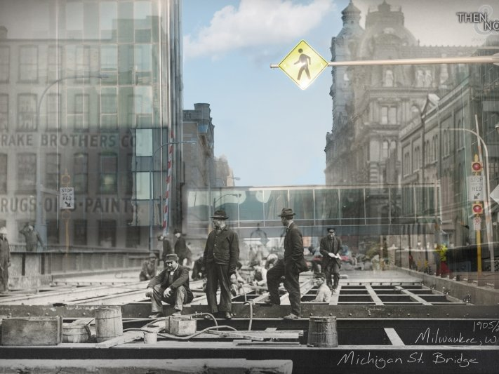 Then & Now photomontages merge past and present Milwaukee