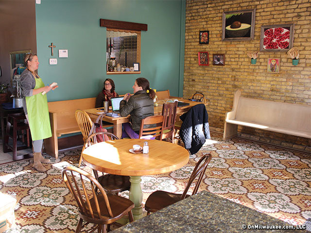 Christie Melby Gibbons Tanya Ingvoldstad Otero And Lutheran Volunteer Corps Intern Taylor DeNaples Tackle Administrative Tasks At The Cafe