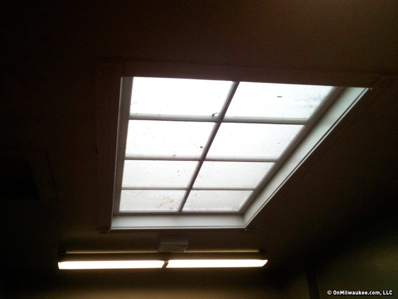 The top floor houses a very small gym, with a stage, some classrooms and storage space and is also very well lit, thanks in part to this skylight.