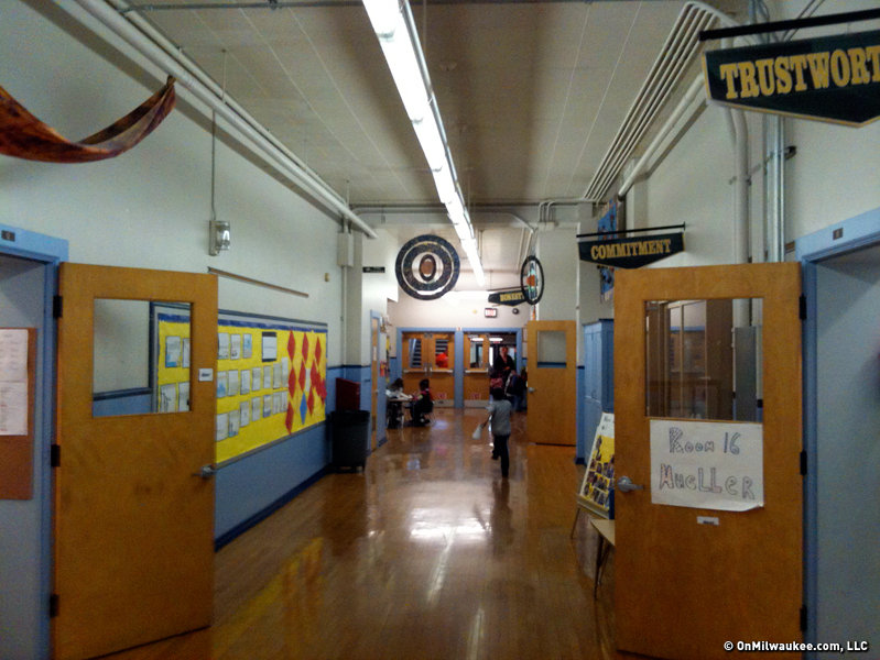 The hallways and classrooms all boast original hardwood floors and high ceilings.