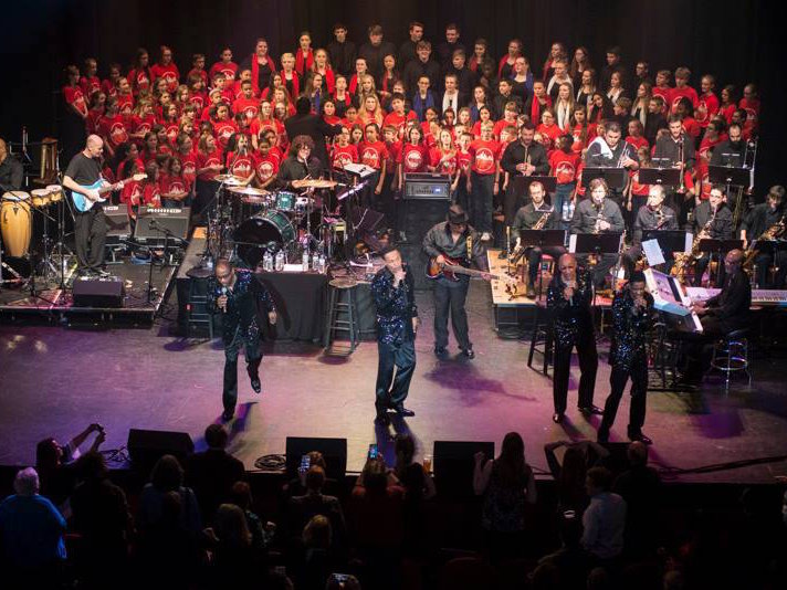 The Four Tops sang with the kids in the Milwaukee Children's Choir at The Pabst.