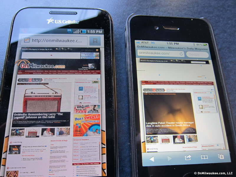 The two performed comparably, except in the Web browsing test, where AT&T timed out.
