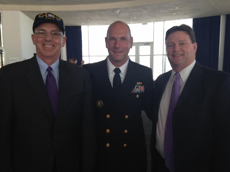 "Marinette Marine President Chuck Goddard, CDR Michael Brasseur, Commanding Officer: Crew 111 ""Iron Warriors"" and Joe North, VP, Lockheed Martin Mission Systems."