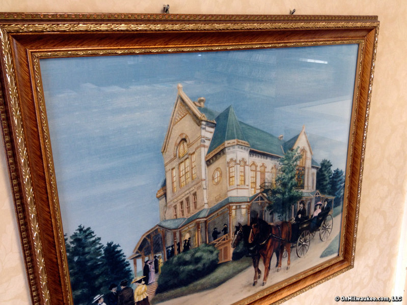 Inside the library is this painting of the nearby Ward Theater.