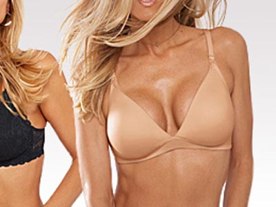 A nursing bra modeled by a non-lactating hottie.