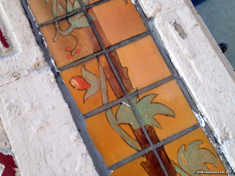 "This tile sends four ""vines"" up the facade of a Moorish Revival building on 27th and Vliet Streets."
