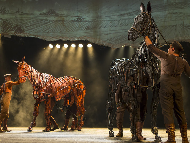 "Horses Joey and Topthorn in the Marcus Center's production of ""War Horse."""