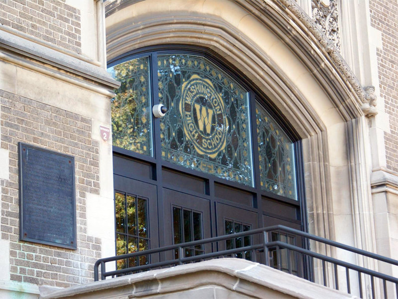 Luckily, someone had the foresight to save the beautiful transom window from the entrance to Washington High School.