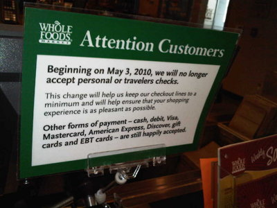 No more checks at Whole Foods Market