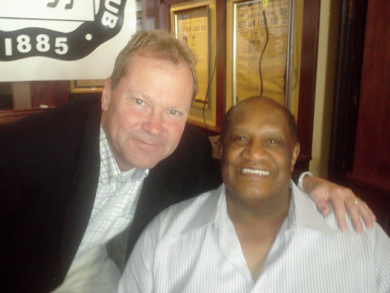Jagler and former Green Bay Packers Willie Davis at the Milwaukee Press Club Newsmaker Luncheon.