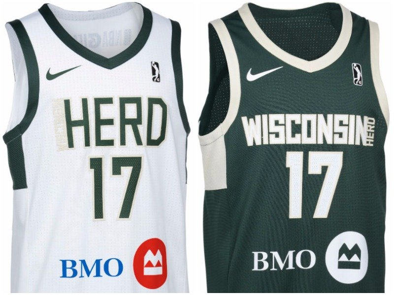 e492690da11 The Wisconsin Herd's G League uniforms pay tribute to its NBA parent team,  the Milwaukee Bucks.