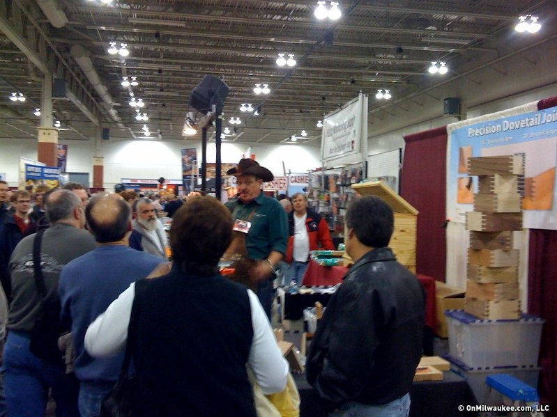 shows off his dovetail maker at this weekend's woodworking show