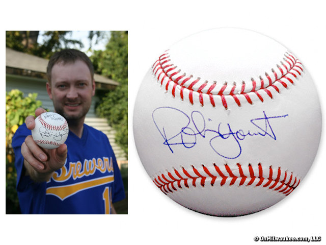 Jason Cole and holds his signed Yount ball, and a closer look at a Yount signature.