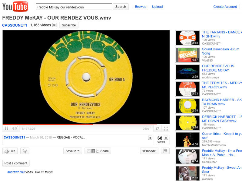 You Tube -- your source for Freddie McKay classics online. Who'd have guessed?